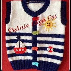 – Knitting world Baby Boy Knitting Patterns, Knitting Machine Patterns, Knit Patterns, Crochet Girls, Crochet Baby Clothes, Knit Crochet, Pull Bebe, Baby Vest, Hand Embroidery Designs
