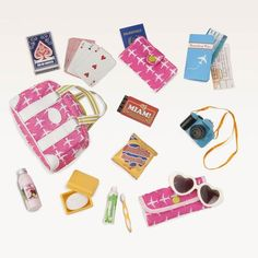 Our Generation Bon Voyage Travel Set. Our Generation dolls like to travel and explore the world by train and by plane. This Our Generation accessory set comes with everything you doll needs for a magical adventure. American Girl Accessories, Barbie Accessories, Og Dolls, Girl Dolls, Doll Toys, Baby Dolls, Doll Crafts, Diy Doll, Our Generation Doll Accessories