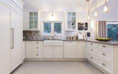 Chevron Tile Backsplash, Contemporary, kitchen, Behr Silver Drop, HGTV