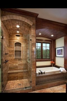 Stone Tile Walk-In Shower Design | Kenwood Kitchens in Columbia ...