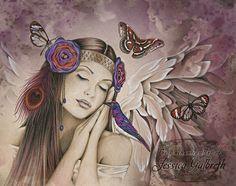 Art Print - Angel Song by Jessica Galbreth-Jessica, Galbreth, headdress, headband, band, flower, feather, peacock, bird, butterfly, dragonfly, woman,Art print, fine art print, print, archival, giclee, giclée