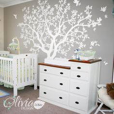 Large Tree wall decal White Tree Wall Decal Wall Mural Stickers Wall Decals Decor Nursery Tree and Birds Wall Art Tattoo Nature  - NT040 by theOliviaDesign on Etsy https://www.etsy.com/uk/listing/233420309/large-tree-wall-decal-white-tree-wall