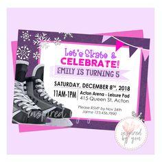 Skating Birthday Party Invitation - Digital File Only - Print Yourself Hockey Party, Rangers Hockey, Skate Girl, Hockey Girls, Personalized Invitations, Figure Skating, Birthday Party Invitations, Girl Birthday, Rsvp