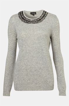 Topshop Rhinestone Trim Sweater available at #Nordstrom
