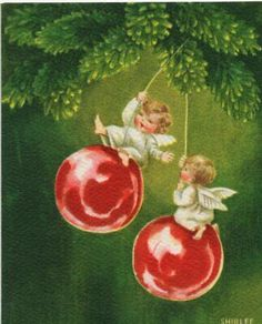 Before Miley got on a wrecking ball -angels were swinging on ornaments Vintage Christmas Greeting Card artist Shirlee Angels By Sunshine Card Christmas Card Images, Vintage Christmas Images, Christmas Post, Retro Christmas, Vintage Holiday, Christmas Greeting Cards, Christmas Pictures, Christmas Angels, Christmas Greetings