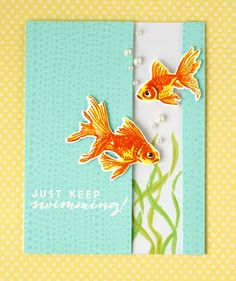 card fish gold fish sea seaside fish bowl hero arts Faux Colored Embossing with Jennifer McGuire!