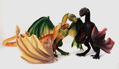 Game of Thrones, Viserion, Rhaegal, Drogon by FellKunst.deviantart.com on @DeviantArt