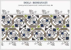 Romanian traditional motifs - OLTENIA Dolj - Romanati Embroidery Sampler, Embroidery Applique, Cross Stitching, Beading Patterns, Blackwork, Pixel Art, Needlework, Projects To Try, Traditional