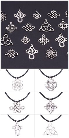 PandaHall Elite 60 Pieces 6 Style Tibetan Alloy Celtic Knot Cross Charms for DIY Necklace Pendants Making Old Jewelry, Jewelry Crafts, Jewelry Making, Wire Wrapped Jewelry, Wire Jewelry, Yoga Armband, Celtic Knot Jewelry, Celtic Knot Necklace, Celtic Knots