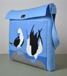 The Pointing Hound presents: BLUE FOOTED BOOBIES blue felt bag available on:  https://www.etsy.com/shop/THEPOINTINGHOUND?ref=l2-shopheader-name