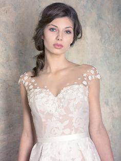rochie de mireasă nude a line corset cu broderie florală și perle Couture Dresses, One Shoulder Wedding Dress, Wedding Dresses, Floral, Collection, Fashion, Bead, Embroidery, Haute Couture Dresses