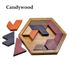 Kids Puzzles Wooden Toys Tangram/Jigsaw Board Candywood