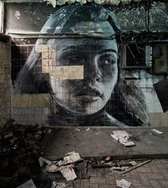 Rone Empty solo show photograph. Rone street art, street art photography.