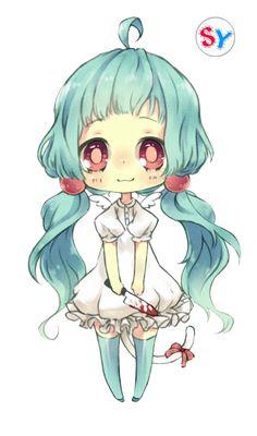 Ninapon render blue hair anime girl chibi by SeikiYukine.deviantart.com on @DeviantArt