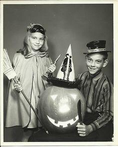 Vintage Halloween Photo ~ Girl and Boy Dressed for Halloween. Circa, 1950's.