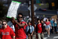 """""""Prayers and thoughts don't save lives,"""" Students from Montgomery Blair High School march down Colesville Road in support of gun-reform legislation, February 21, 2018.  Photo credit: Win McNamee / Getty — in Silver Spring, Maryland."""
