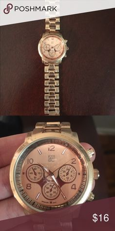 Rose Gold Watch by NY & Co Gorgeous rose gold watch. Never used (too big for me but you could easily take out links). Has minor scuffs on metal from being in my jewelry drawer. Can provide more info upon request! 😊 New York & Company Accessories Watches