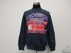 Vtg 90s Fruit of the Loom Connecticut Huskies Sweatshirt sz L Large UCONN NCAA #FruitoftheLoom #UConnHuskies