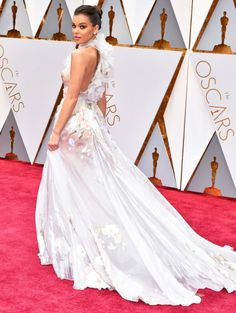 Hailee Steinfeld wearing Ralph & Russo with Charlotte Olympia heels and Neil Lane jewelry at the 2017 Oscars.  Styled by #RandM.