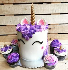 """114 Likes, 20 Comments - Daniela Copenhaver 🍴 (@danielaskitchensd) on Instagram: """"LOVING this theme!! Different shades of purple #unicorn cupcakes and cake with a hint of pink. 🦄…"""""""