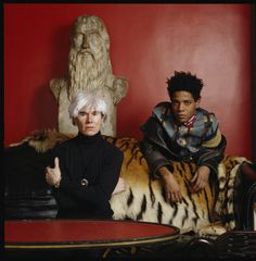 Andy Warhol and Jean-Michel Basquiat. The two artists collaborated frequently between 1984-1985.