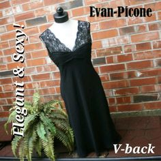 """🎁SALE Evan Picone Black Sleeveless Lace Dress 🎁I'm currently running an additional sale. See listing at the top of my closet for details and end date.🎁  Reduced from $29 to $15! A STEAL! FINAL PRICE!   This dress is in excellent used condition & very classy.  I'm 5'7"""", & it hit 2"""" below my knee caps.  It's a size 12 but definitely runs small.  It would better fit an 8-10. Please ask for measurements if needed. Please ask for measurements if needed. Evan Picone Dresses"""