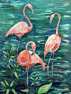 painting on silk batik wall art decor home decor pink flamingos Interior Decoration 22.4 inch/30.3 inch