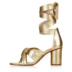 TopShop Nola Soft Knot Sandals ($100) ❤ liked on Polyvore featuring shoes, sandals, heeled sandals, topshop shoes, topshop sandals, leather heeled sandals and thick high heel shoes