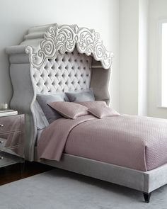 Haute House Diana Bed, Exclusively ours.This bed is the stuff dreams are made of. From its intricately scrolled cornice to its curvaceous wings and tufted headboard, this bed wraps you in opulent luxury.