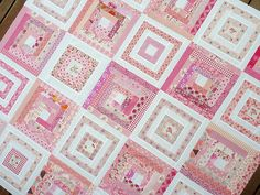 pink log cabins @Rita - Red Pepper Quilts
