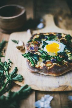 Rapini & Rosemary Potato Pizza on Buttermilk Crust {with an egg! oh yes} | {local milk}
