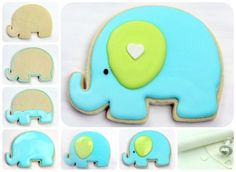 super cute elephant cookie!!! need: elephant & small heart cookie cutter, blue and green (or whatever colors you want) cookie icing, and a black sprinkle for the eye!