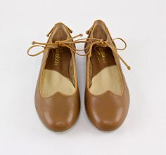 80s Tan Ballet Flats Leather Mary Jane Saddle by factoryhandbook, $70.00