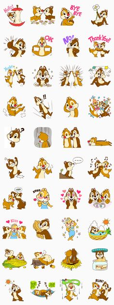 Meet cheeky Chip with the small black nose, goofy Dale with the big red nose, and their beloved Clarice! Go nuts with these super cute and expressive stickers! Cute Disney, Disney Art, Disney Pixar, Walt Disney, Printable Stickers, Cute Stickers, Planner Stickers, Chip E Dale, Tic Et Tac Disney