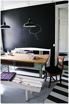 chalk board wall? Love these walls.  Not sure I love them enough at $14 for a quart of this paint though....DIY with 1 cup paint and 1 or 2 Tbps uncut grout or something like that.