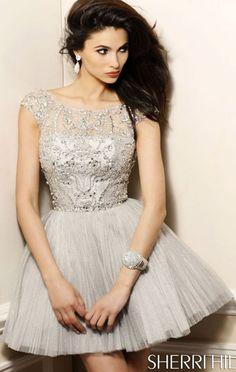 2014 Gunmetal/Gunmetal Sherri Hill 2814 V-Back Beaded Bodice Party Dress