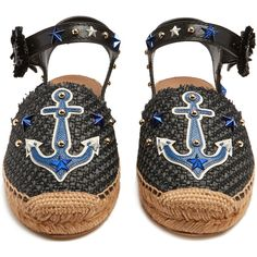 Dolce & Gabbana Anchor-appliqué embellished espadrilles ($417) ❤ liked on Polyvore featuring shoes, sandals, black espadrilles, woven sandals, black braided sandals, braided leather sandals and black leather espadrilles