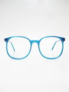 Vintage 1970s Aqua Blue Oversized Sunglasses Eyeglasses Ladies Glasses Bright Sea Cerulean Round Wayfarer Indie Hipster Chic Deadstock NOS
