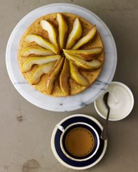 Hazelnut Tea Cake with Moscato Pears Recipe on Food & Wine