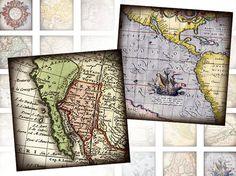 Antique vintage World maps