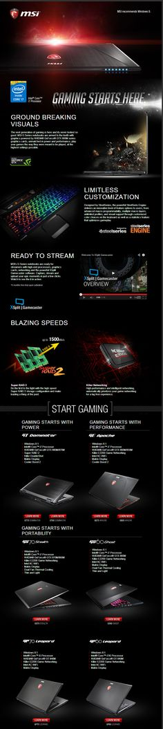 Gaming starts here! - MSI Gaming laptops