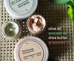 facial scrub and mousse of soap for easy rinse  antioxidant, refreshing, nutritious  with green clay, grapes and lemon (oily skin) with red clay, avocado and lavender (dry skin)
