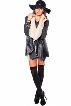 FAUX FUR LEATHER VEST