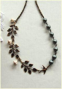 Cascading Leaves, Swarovski Matte Powder Green Pearl Necklace.  Bridesmaids Necklace. Vintage Style Wedding. Romantic.. 32.50, via Etsy.