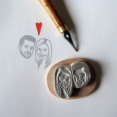 Decorate your wedding cards with your own couple portrait.    DRAWING & CARVING MADE BY HAND*  MOUNTED ON WOOD  WOODEN BOX  + LITTLE HEART STAMP