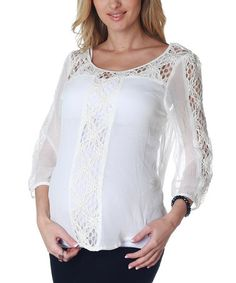 Take a look at this White Sheer Crochet Maternity Top by PinkBlush Maternity on #zulily today!
