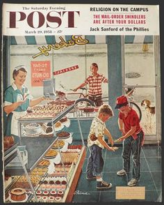 Saturday Evening Post - Doughnuts for Loose Change (Ben Kimberly Prins) Images Vintage, Photo Vintage, Vintage Cards, Retro Vintage, Vintage Soul, Retro Art, Vintage Prints, Vintage Posters, Art Posters