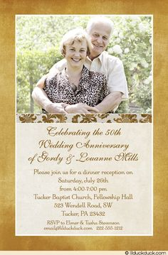 Free Pdf Template Golden Wedding Anniversary Invitation Template