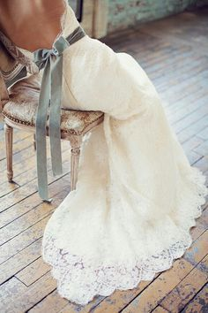 How does your wedding dress hem appear as you look into the mirror?  Think details and how the wedding gown will look in your photos as it cascades across the floor.