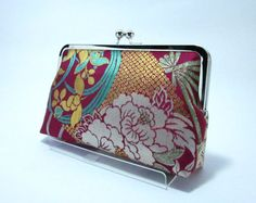 Rose pink Gold purse / Obi bag/ Obi Purse / Vintage Kimono obi bag / Hand made/13